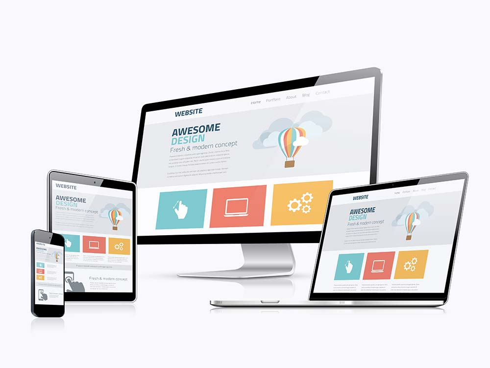 responsive website design shown in desktop mobile and tablet view