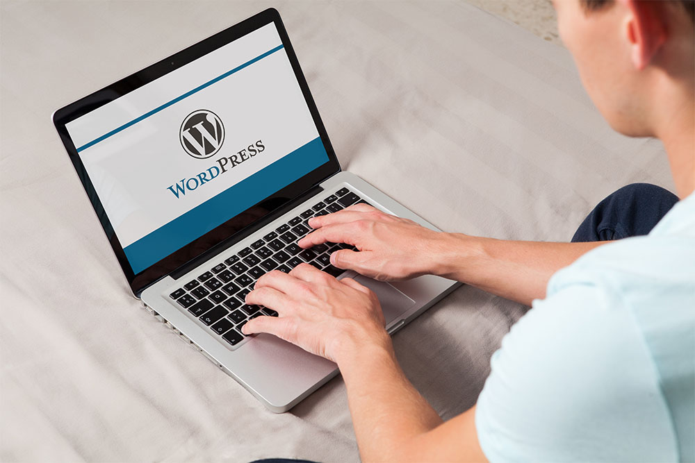 Business owner logging onto their company's website using WordPress
